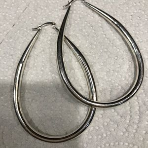 Jewelry - Silver White gold filled 3in Hoops